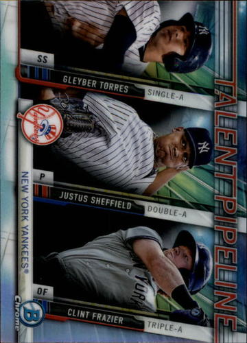 Photo of 2017 Bowman Chrome Talent Pipeline #TPNYY Gleyber Torres/Justus  Sheffield/Clint  Frazier