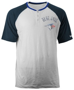 Toronto Blue Jays Slub Raglan Henley T-Shirt White/Royal by New Era