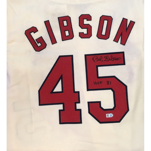 "Photo of Bob Gibson ""HOF 81"" Autographed Cardinals Mitchell & Ness Jersey"