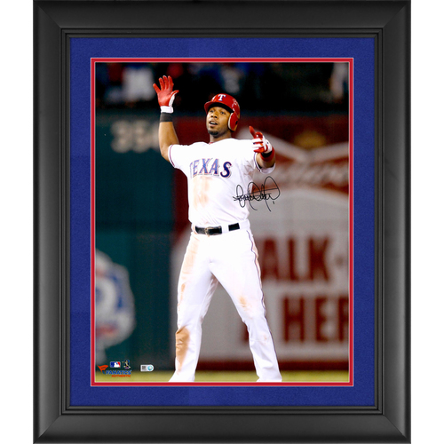 """Photo of Elvis Andrus Texas Rangers Framed Autographed 16"""" x 20"""" Hands Up Standing Photograph - Suede Matting"""