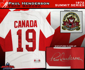 PAUL HENDERSON Signed 1972 Summit Series Team Canada White Jersey