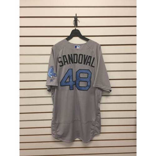 Photo of Pablo Sandoval Game-Used June 18, 2017 Father's Day Road Jersey