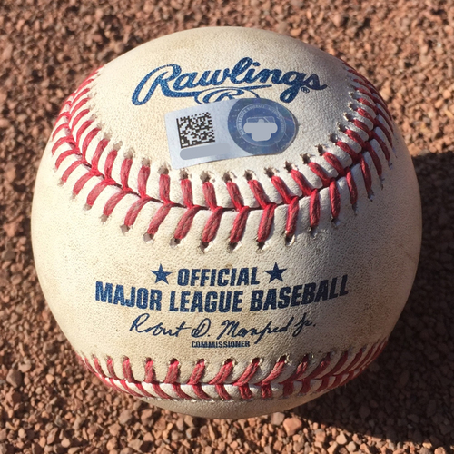 Photo of San Francisco Giants - 2017 Game-Used Baseball - September 30th - Matt Cain career strikeout #1693