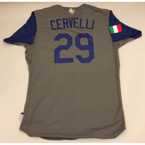 Photo of 2017 WBC: Italy Game-Used  Road Jersey, Cervelli #29