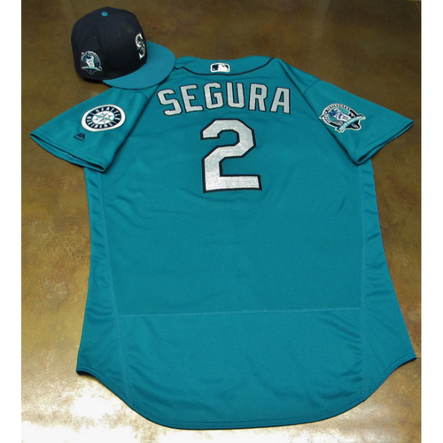 Photo of Jean Segura Green Game-Used Jersey & Cap With Edgar Martinez Patch Worn 8-11-2017
