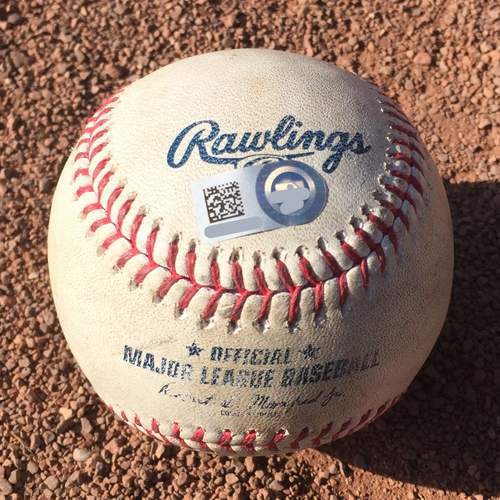 "Photo of San Francisco Giants - 2017 Game-Used Baseball - September 30th - Authenticated as ""Matt Cain Final Game"""