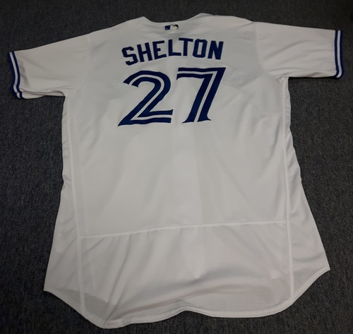 Photo of Authenticated Game Used Jersey - #27 Derek Shelton (April 11, 2017: Home Opener). Size 48.