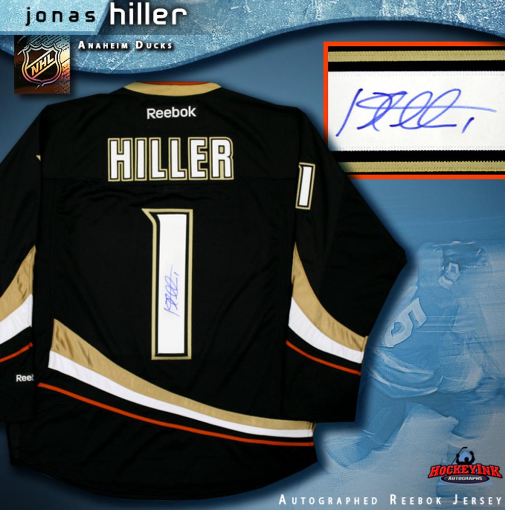 JONAS HILLER Signed Anaheim Ducks Black RBK Premier Jersey