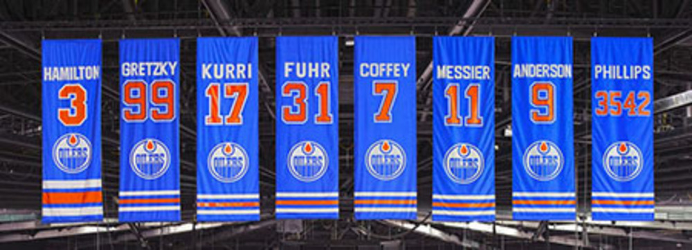 Edmonton Oilers - Retired Players Banner - Unsigned Canvas - Hamilton, Gretzky, Kurri, Fuhr, Coffey, Messier, Anderson, & Phillips