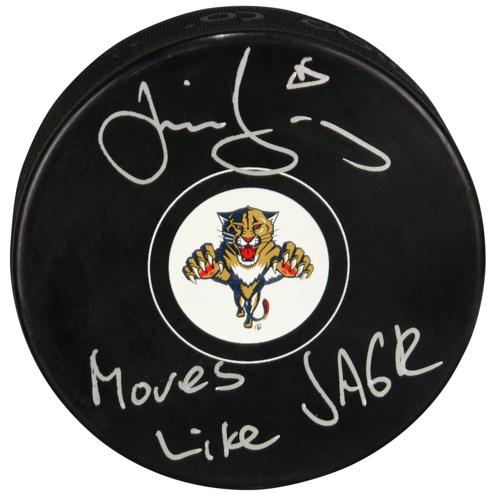 Jaromir Jagr Florida Panthers Autographed Hockey Puck with Moves Like Jagr Inscription