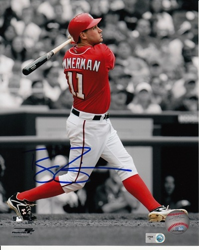 Photo of Ryan Zimmerman Autographed Swinging Spotlight 8x10