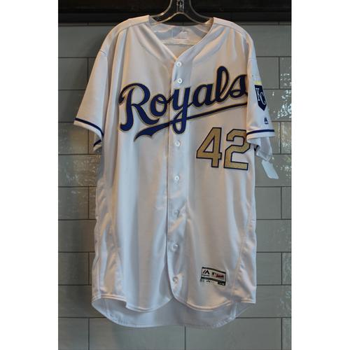 "Photo of Eric Hosmer Game-Used ""42"" Jersey 4/15/17 (Size 46)"