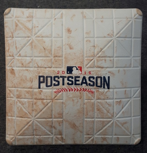 Photo of Authenticated Game Used Base - ALCS Game 5 vs CLE (Oct 19, 2016): 1st Base for Innings 1 to 3. Cleveland won to advance to the World Series.