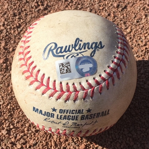 Photo of San Francisco Giants - 2017 Game-Used Baseball - October 1st Final Game - Johnny Cueto strikes out Luis Perdomo