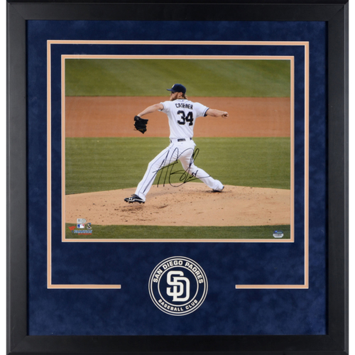 "Photo of Andrew Cashner San Diego Padres Deluxe Framed Autographed 16"" x 20"" Pitching Photograph"