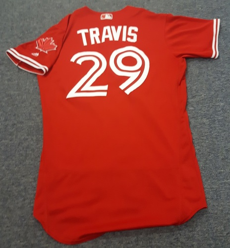 Authenticated Game Used Jersey - #29 Devon Travis (April 16, 2017). Size 42.