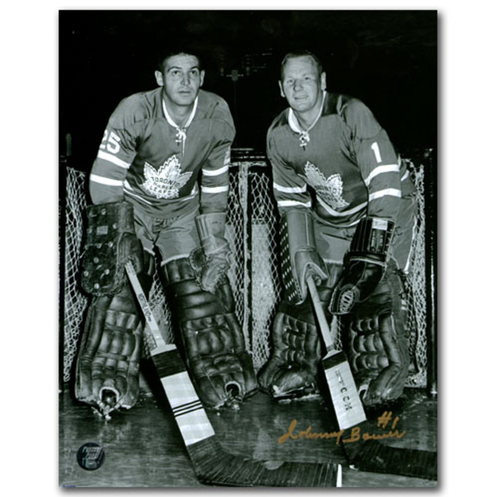 Johnny Bower Autographed Toronto Maple Leafs 8X10 Photo w/Terry Sawchuk