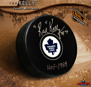 RED KELLY Signed Toronto Maple Leafs Puck - HOF