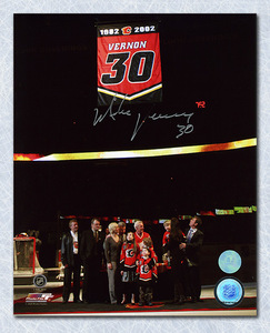 Mike Vernon Calgary Flames Autographed Retirement Night 8x10 Photo