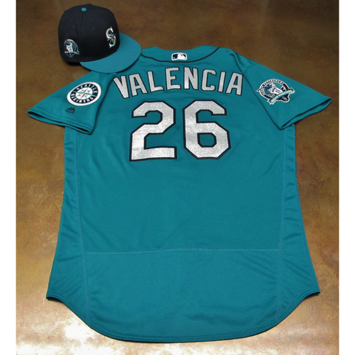 Photo of Danny Valencia Green Game-Used Jersey & Cap With Edgar Martinez Patch Worn 8-11-2017