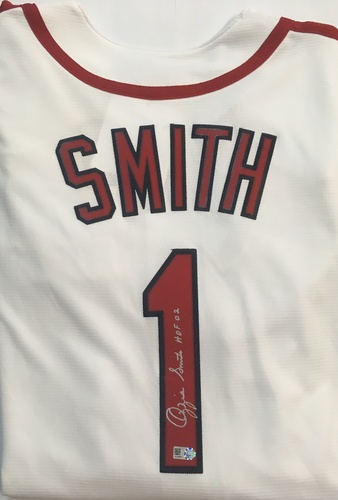 "Photo of Ozzie Smith ""HOF 02"" Autographed Cardinals Cooperstown Collection Jersey"