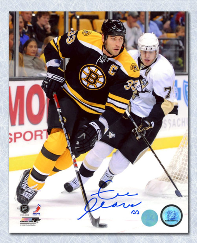 Zdeno Chara Boston Bruins Autographed Game Action vs Penguins 8x10 Photo