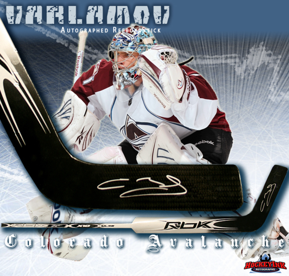 SEMYON VARLAMOV Signed RBK Model Silver Stick - Colorado Avalanche