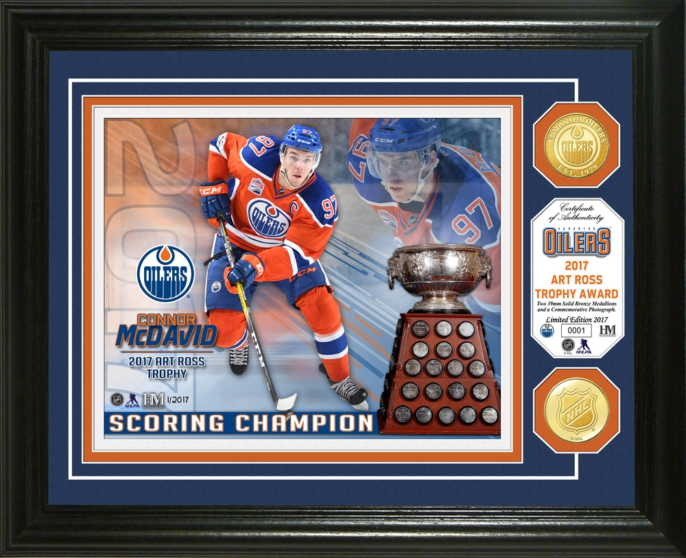 Serial #1! Connor McDavid 2017 Art Ross Trophy Bronze Coin Photo Mint