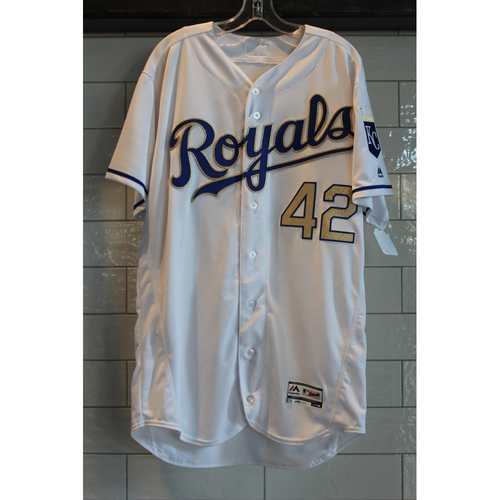 """Photo of Alcides Escobar Game-Used """"42"""" Jersey 4/15/17 (Size 46)"""