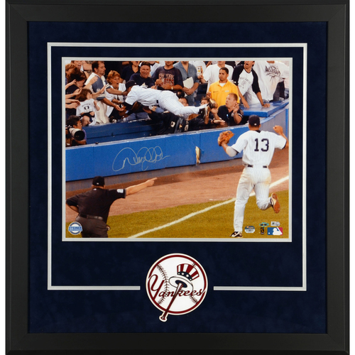 Photo of Derek Jeter New York Yankees Deluxe Framed Autographed 16'' x 20'' Dive Photograph - Steiner Sports