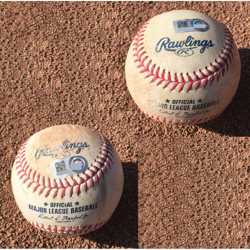 Photo of San Francisco Giants - 2017 Game-Used Baseball - September 16th - Dueling K's - Zack Greinke strikes out Madison Bumgarner AND Madison Bumgarner strikes out Zack Greinke