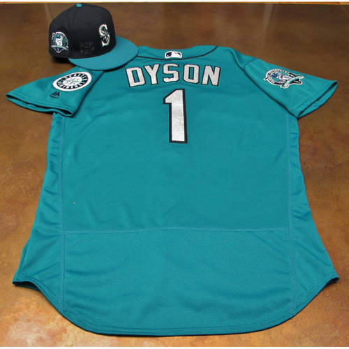 Photo of Jarrod Dyson Green Game-Used Jersey & Cap With Edgar Martinez Patch Worn 8-11-2017