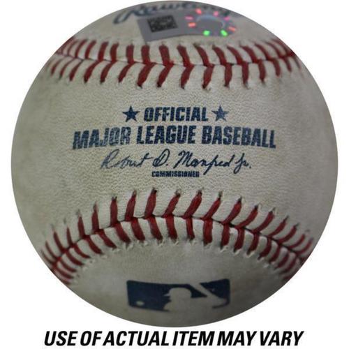 Photo of Angels at Yankees Game-Used Baseball 6/21/2017 (Top 1 - Cameron Maybin - 7 - Ball, Top 1 - Kole Calhoun - 1 - Called Strike, Kole Calhoun - 2 - Ball, Kole Calhoun - 3 - Swinging Strike, Kole Calhoun -Pickoff Attempt 1B, Kole Calhoun - 4 - Foul)