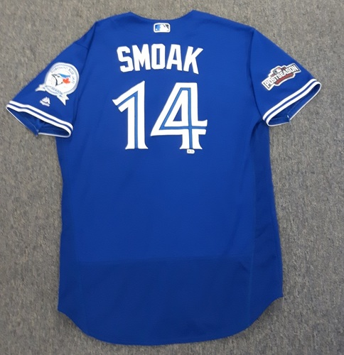Authenticated Game Used Postseason Jersey - #14 Justin Smoak (October 18 and 19, 2016: ALCS Games 4 and 5). Size 48.