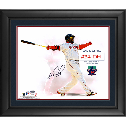 Photo of David Ortiz Boston Red Sox Framed Autographed 16  x 20  2016 Opening Day Home-Run Swing White Spotlight Photograph