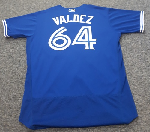 Authenticated Game Used Jersey - #64 Cesar Valdez (July 29, 2017). Size 48.