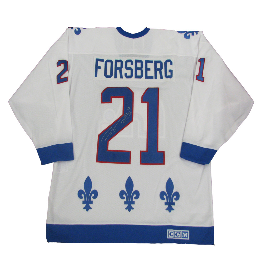 PETER FORSBERG Signed Quebec Nordiques White CCM Jersey