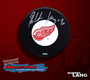 ROBERT LANG Signed Detroit Red Wings Puck