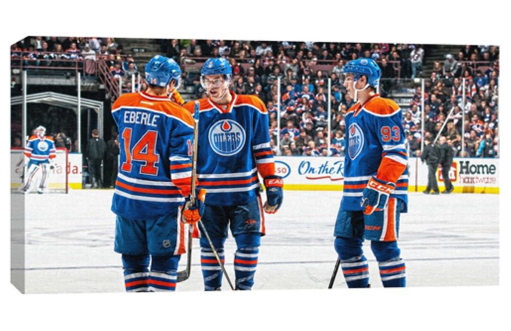 Taylor Hall, Jordan Eberle & Ryan Nugent-Hopkins - Edmonton Oilers 14x28 Canvas
