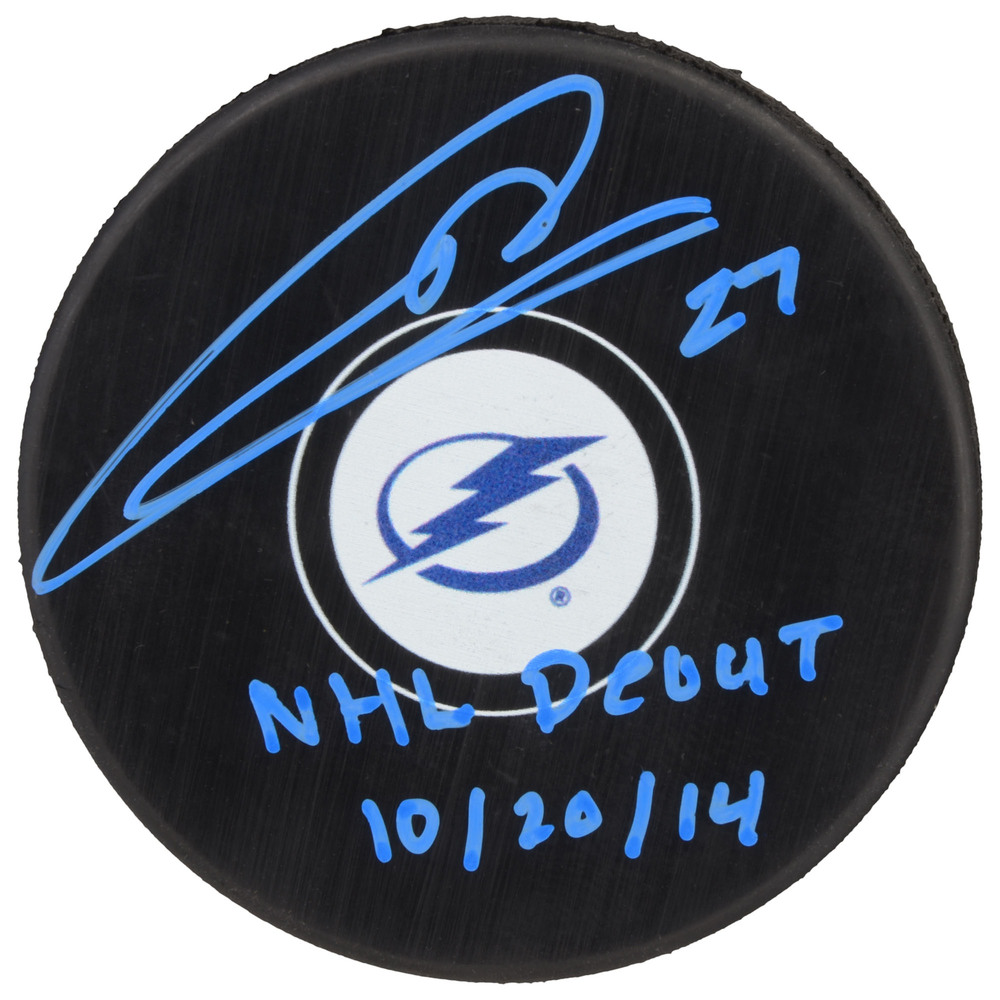 Jonathan Drouin Tampa Bay Lighting Autographed Hockey Puck with NHL Debut 10/20/14 Inscription - Blue Paint Pen