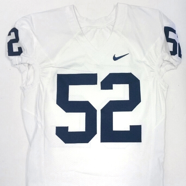 Penn State Game Used Football Jersey: White #52 (Size 46)