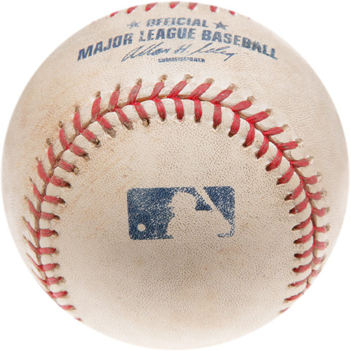 Photo of Game-Used Baseball from Trevor Hoffman's 518th Career Save Game
