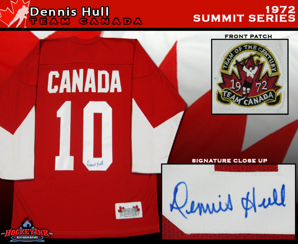 DENNIS HULL Signed 1972 Summit Series Team Canada Red Jersey