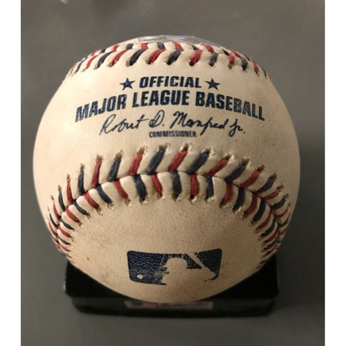 George Springer Game-Used Hit Double Baseball - July 4, 2017