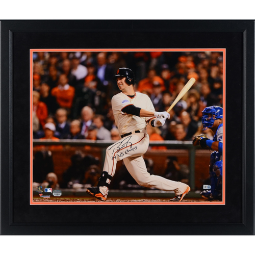 "Photo of Buster Posey San Francisco Giants Framed Autographed 16"" x 20"" 2014 World Series Hitting Photograph with 14 WS Champs with Suede Matting"
