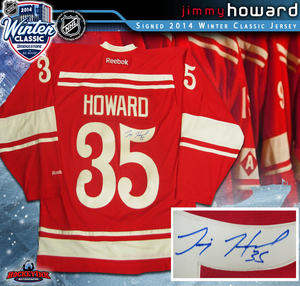 JIMMY HOWARD Signed 2014 NHL WINTER CLASSIC Detroit Red Wings Red Reebok Jersey