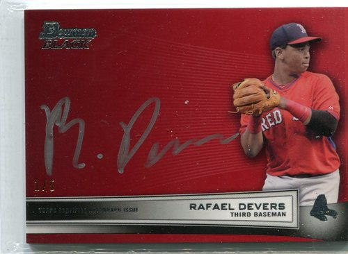 Photo of 2015 Bowman Black Collection Autographs Red 1/5 Rafael Devers -- Red Sox post-season