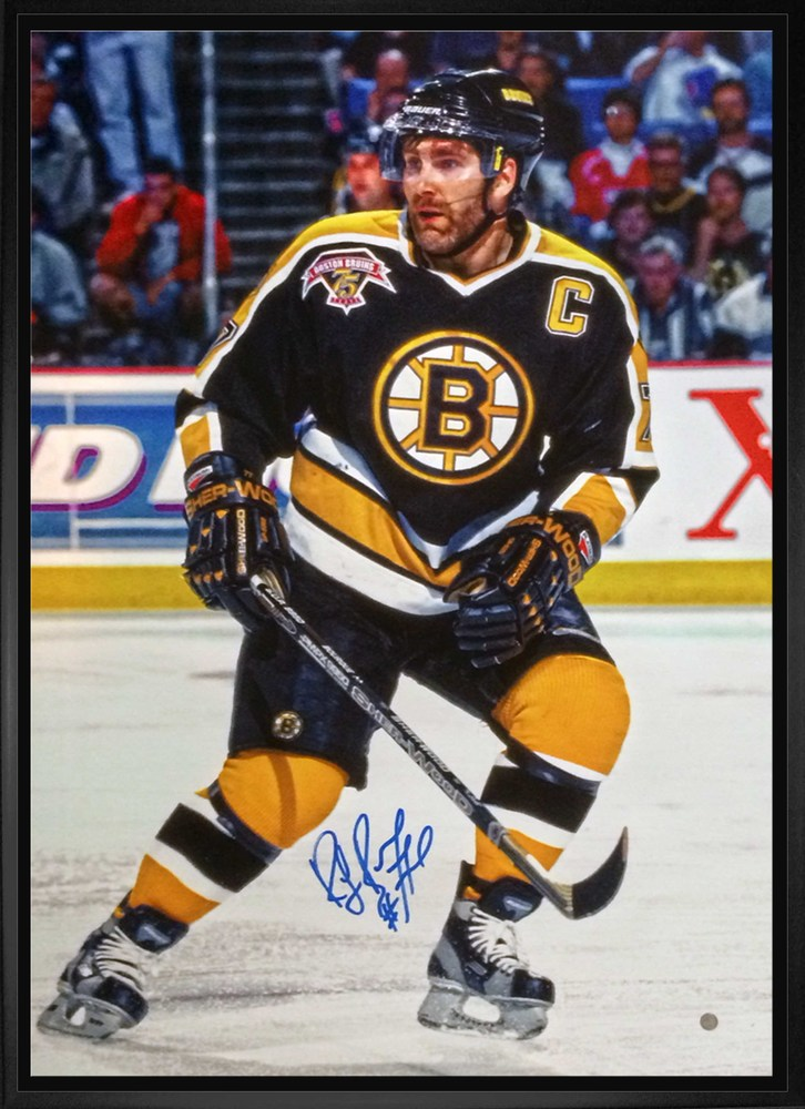 Ray Bourque - Signed 20x29 Framed Canvas Bruins Action-V