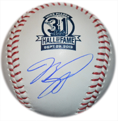 Photo of Mike Piazza - Autographed Piazza Mets Hall of Fame Baseball