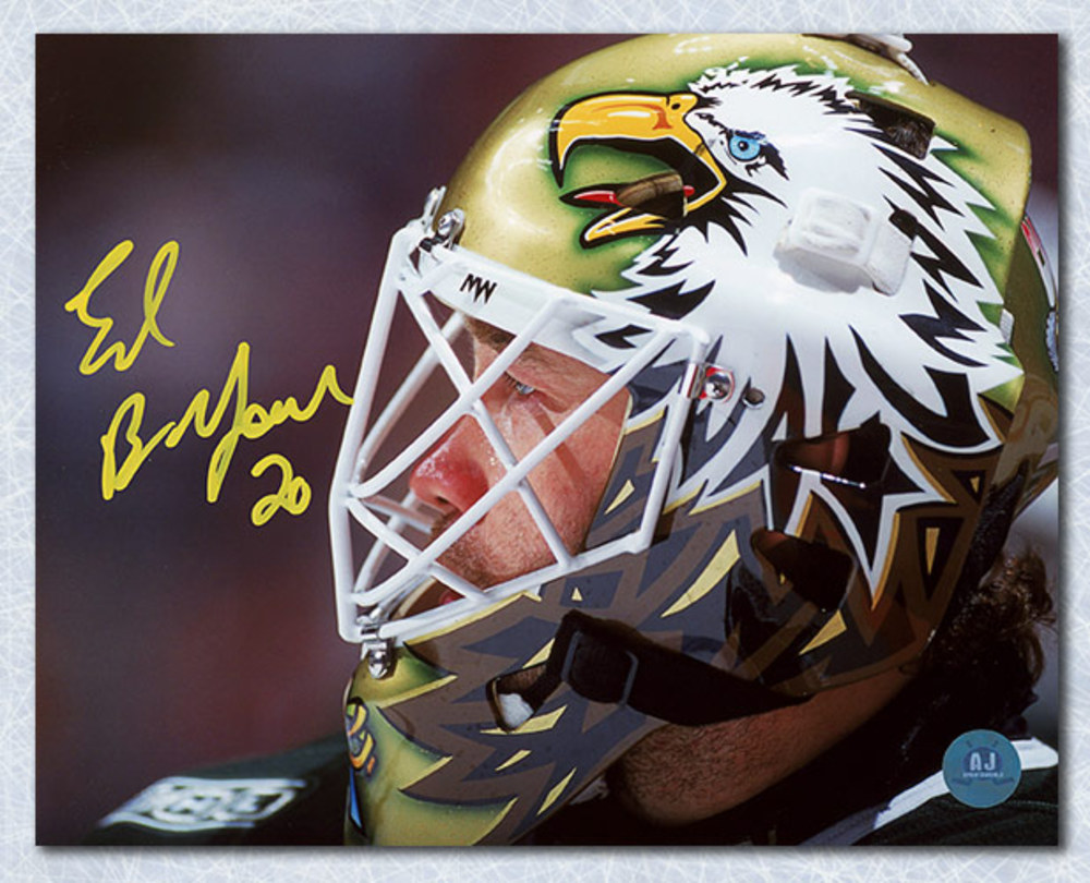 Ed Belfour Dallas Stars Autographed Eagle Mask 8x10 Photo